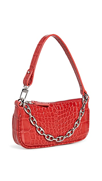 BY FAR Mini Rachel Red Croco Embossed Leather Bag