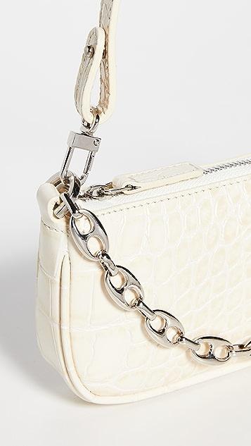 BY FAR Mini Rachel Cream Croco Embossed Leather Bag