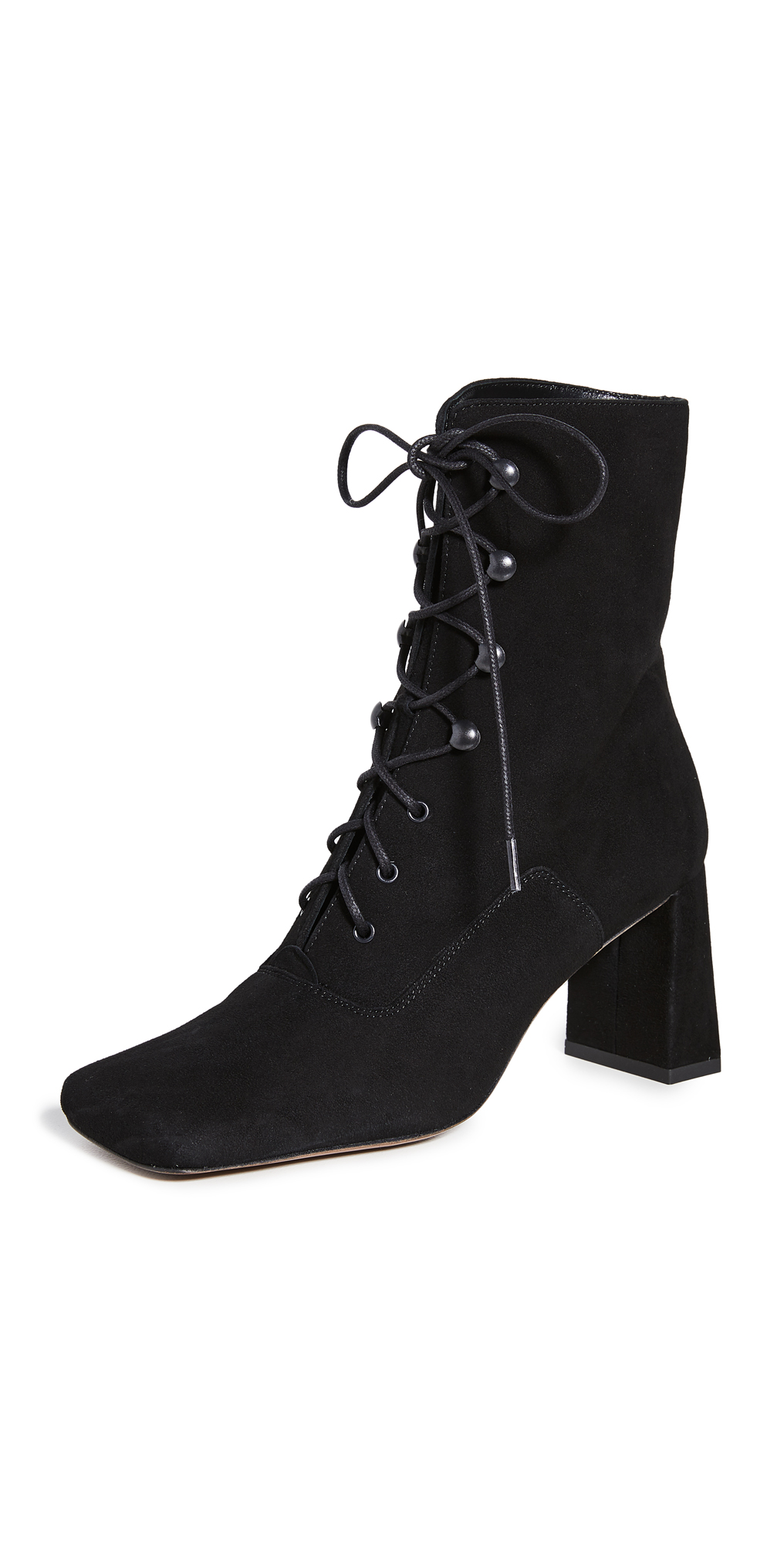 BY FAR Claude Lace Up Suede Booties