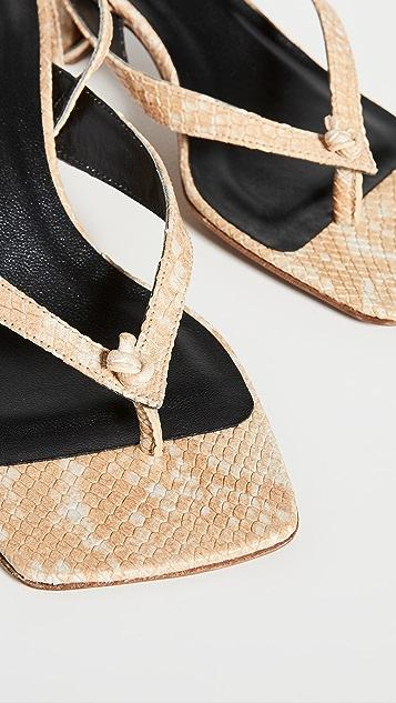 BY FAR Mindy Snake Print Thong Sandals
