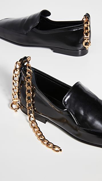 BY FAR Nick Chain Anklet Loafers