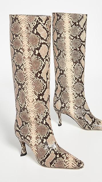 BY FAR Stevie 42 蛇纹印花靴子