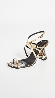 BY FAR Elsa 蛇纹印花趾环凉鞋