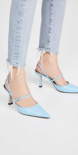 BY FAR - Tiffany Lagoon 圆形鳄鱼压纹皮浅口鞋