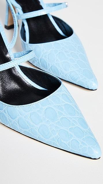BY FAR Tiffany Lagoon Circular Croco Embossed Leather Pumps