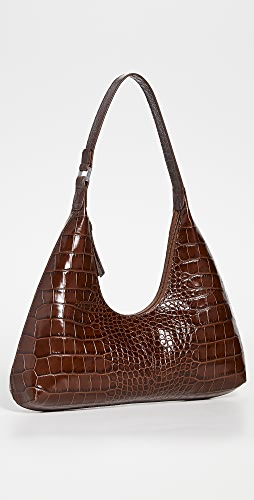 BY FAR - Amber Nutella Croco Embossed Bag