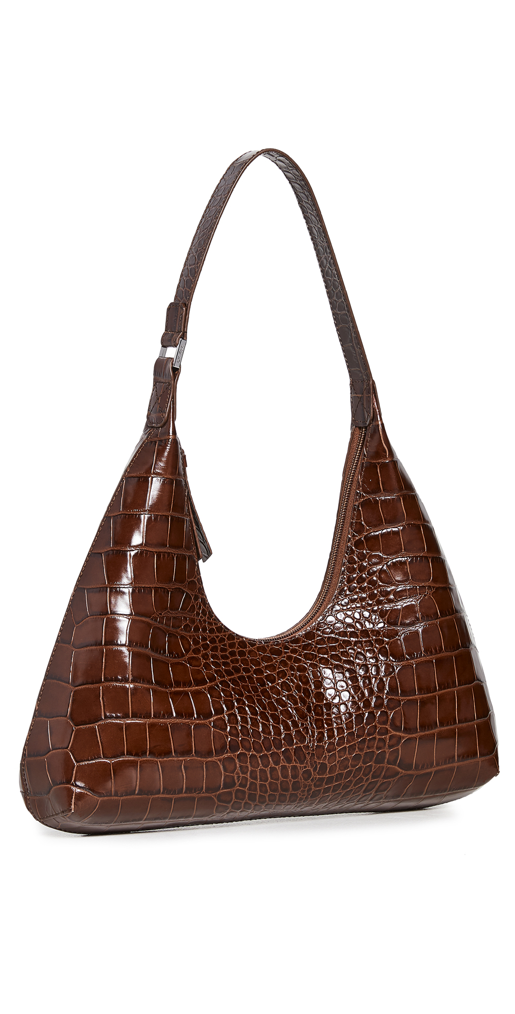 BY FAR Amber Nutella Croco Embossed Bag