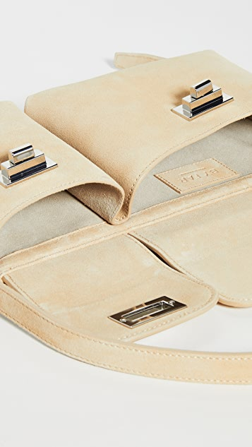 BY FAR Billy Cappuccino Suede Bag