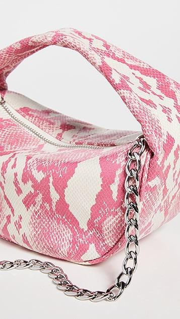 BY FAR Baby Cush Cyclamen Snake Print Bag