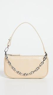 BY FAR Mini Rachel Sand Gloss Grained Leather Bag
