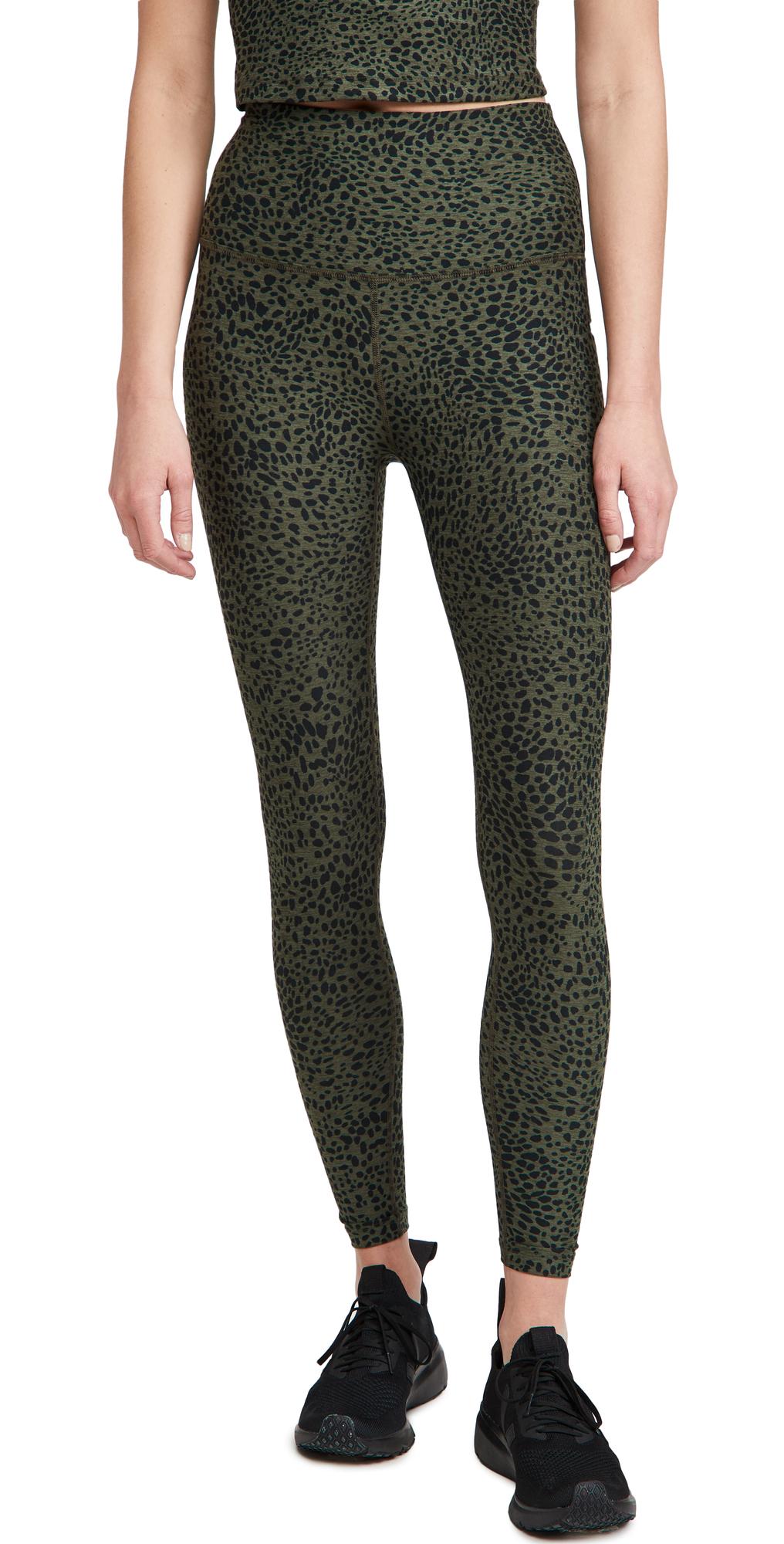 Beyond Yoga Space Dye Printed Caught In The Midi Leggings In Eden Green Cheetah