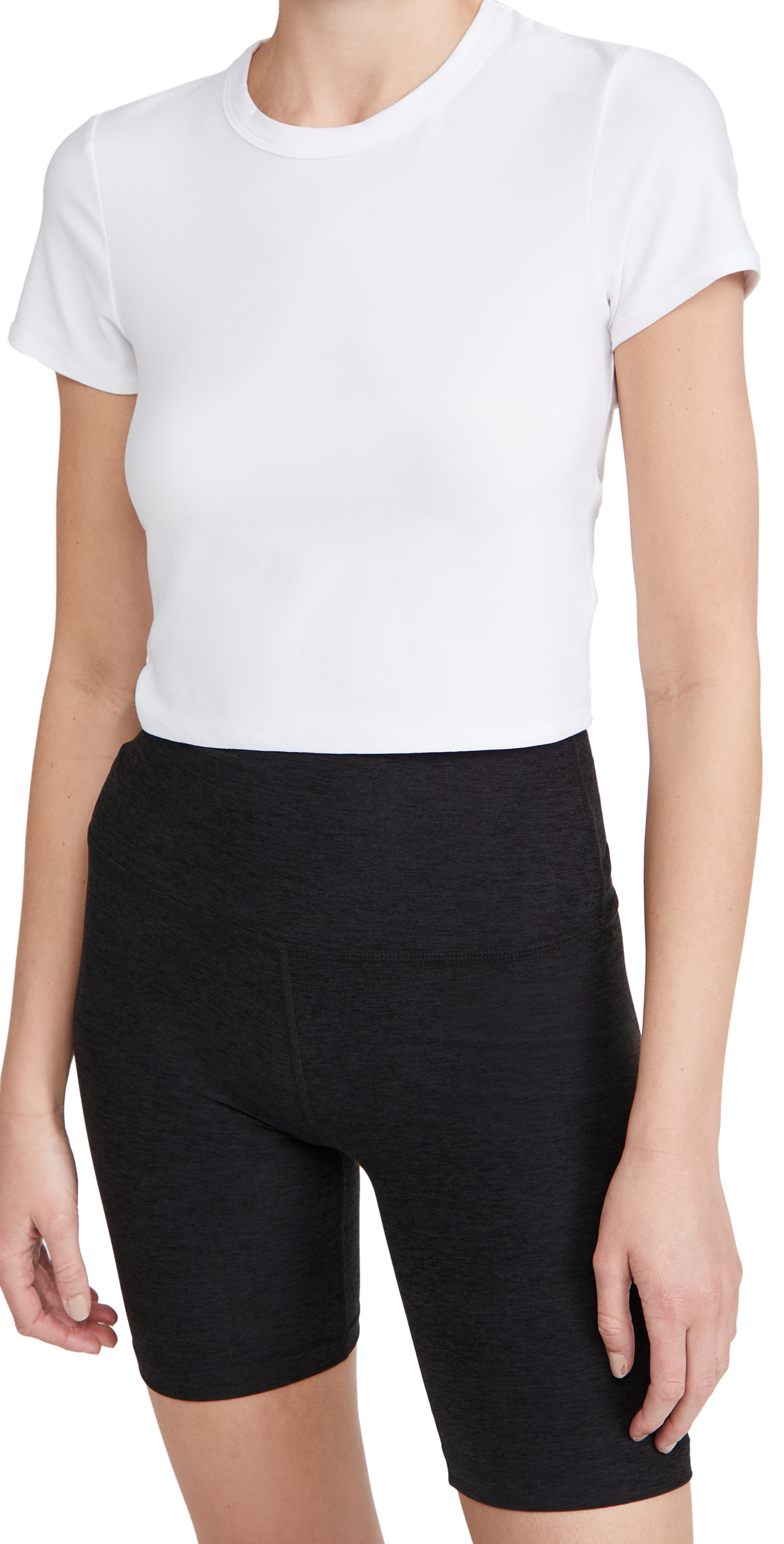 Beyond Yoga Ruched Down Cropped Tee