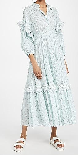 byTimo - 棉质竹节纹系扣连衣裙