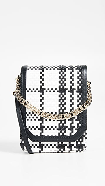 Cafune Bellows Cross Body Bag - Black White Woven