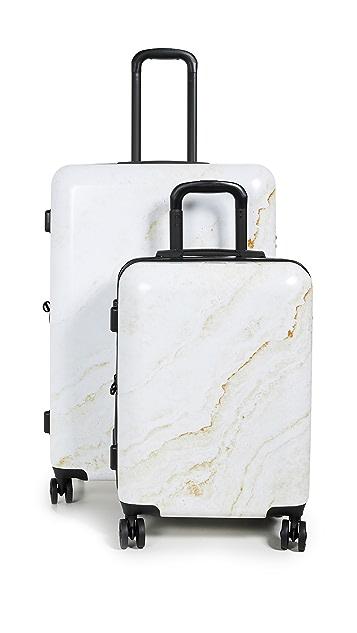 CALPAK Gold Marble Two Piece Suitcase  Set