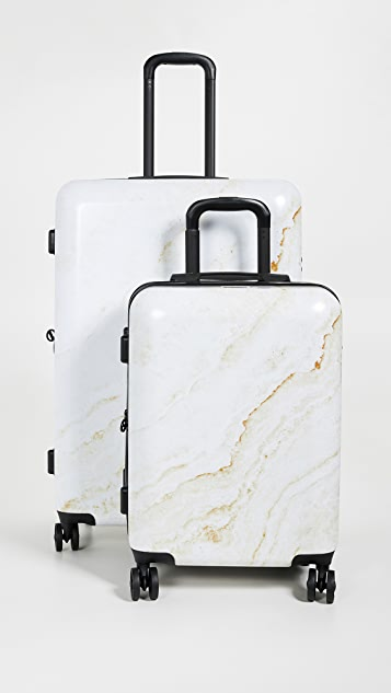 CALPAK Gold Marble Two Piece Suitcase Set