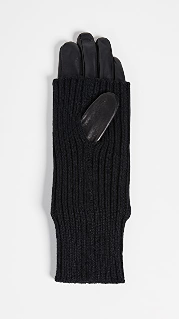 Carolina Amato Knit & Leather Texting Gloves