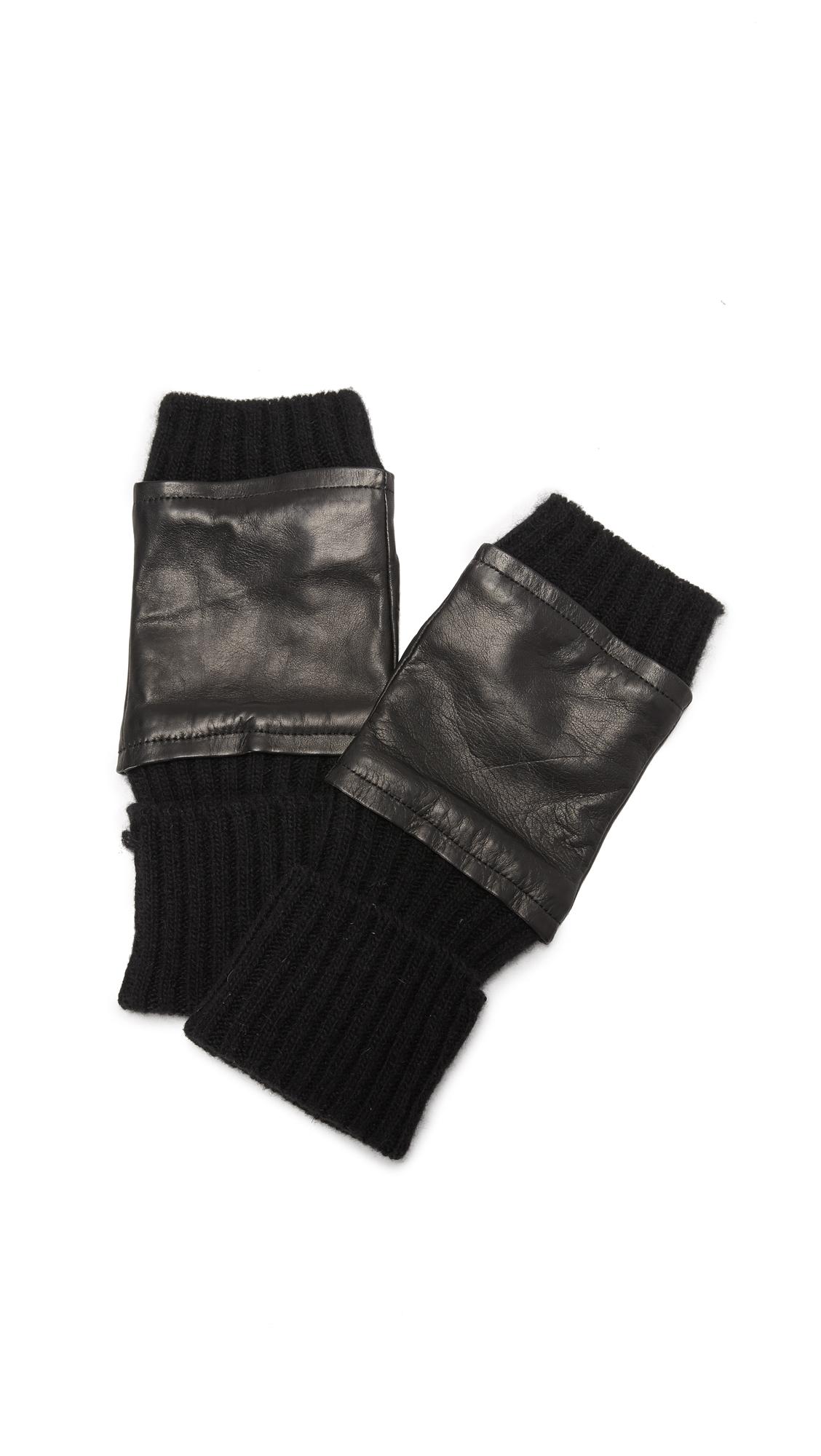 Fingerless Knit & Leather Gloves
