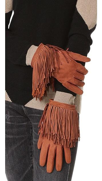 Carolina Amato Leather & Suede Fringe Gloves