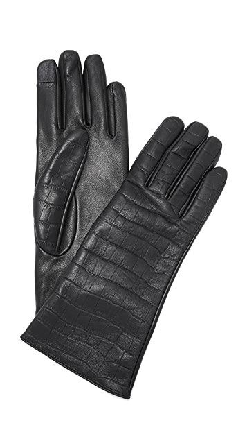 Carolina Amato Mini Croc Leather Texting Gloves