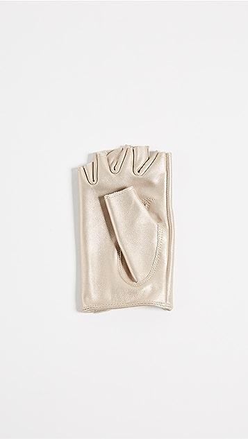 Carolina Amato Metallic Fingerless Moto Gloves