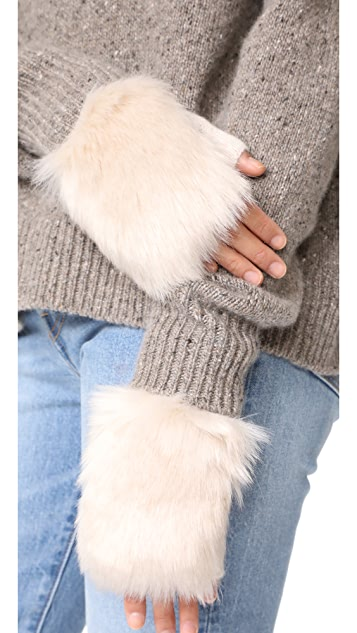 Carolina Amato Трикотажные перчатки без пальцев с отделкой из искусственного меха
