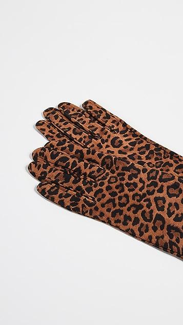 Carolina Amato Leopard Print Gloves