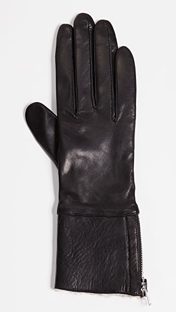 Carolina Amato Tech Leather Shearling Gloves