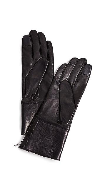 Carolina Amato Tech Leather Shearling Gloves