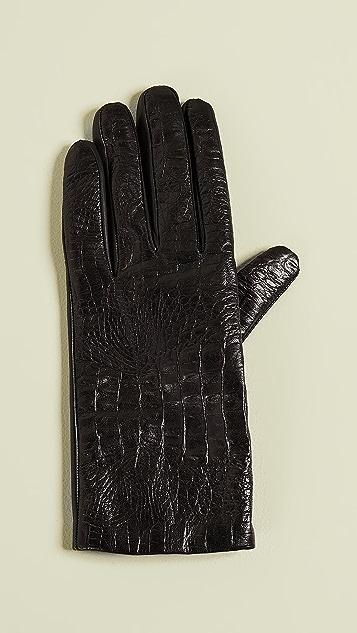 Carolina Amato Перчатки из кожи под крокодила