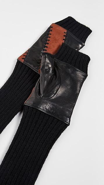 Carolina Amato Leather Striped Fingerless Gloves