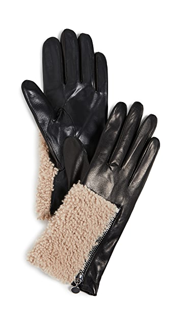 Carolina Amato Leather Shearling Gloves