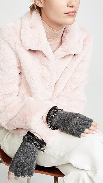 Carolina Amato Chain Detail Knit Fingerless Gloves