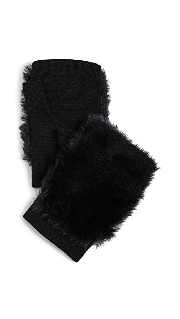 Carolina Amato Faux Fur Fingerless Gloves