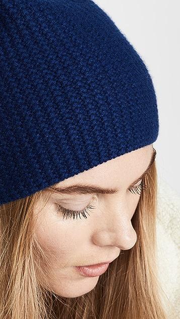 Carolina Amato 华夫格开司米羊绒针织毛线帽