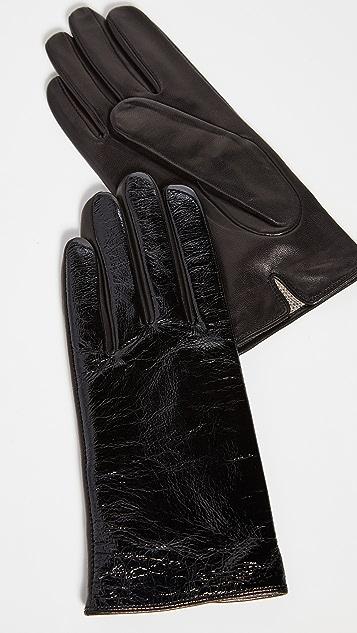 Carolina Amato Black Patent Gloves