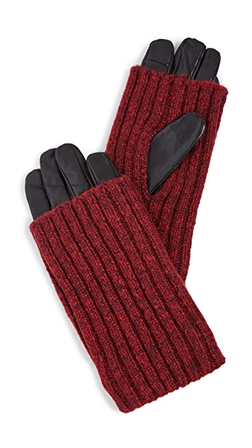 Carolina Amato Touch Tech Wood Smoke Overlay Gloves