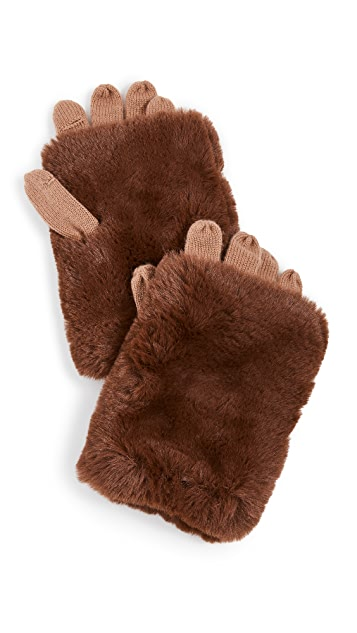 Carolina Amato Short Hair Fold Over Texting Gloves