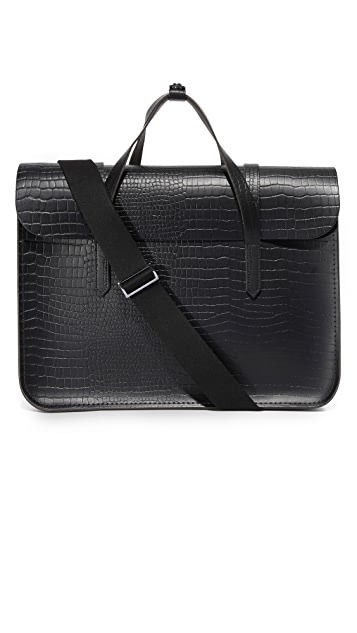 Cambridge Satchel Stamped Croc Large Folio Briefcase