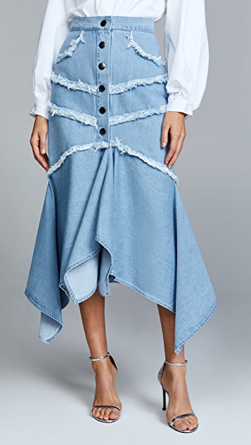 C/Meo Collective Stranded Midi Skirt - Blue