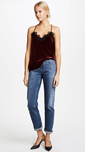 CAMI NYC The Racer Velvet Contrast Top