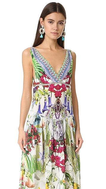 Camilla Многоярусное платье со сборками и V-образным вырезом