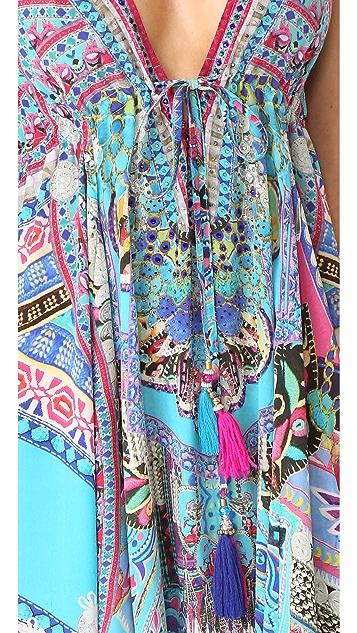 Camilla Festival Friends Long V Neck Drawstring Dress