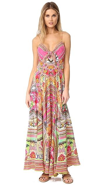 b0eb7bc4f698 Camilla Hani Honey Long Dress With Tie Front | SHOPBOP