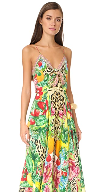 Camilla Cool Cat Long Dress with Tie Front