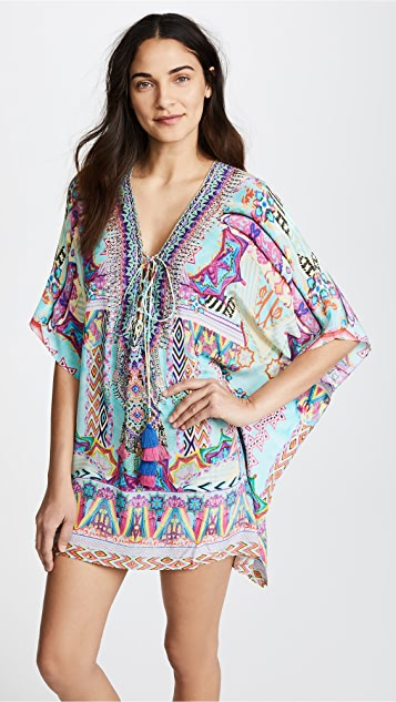Camilla Wandering Eye Short Lace Up Caftan
