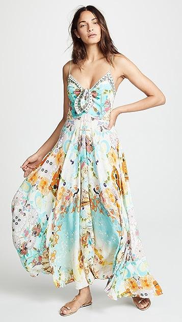 Camilla Длинное платье с завязками спереди