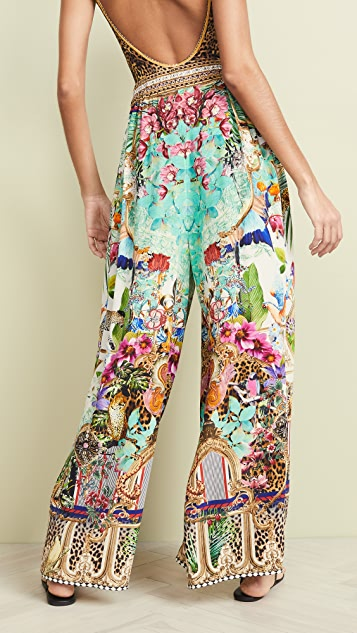 Camilla Wide Leg Pant With Gathered Pockets