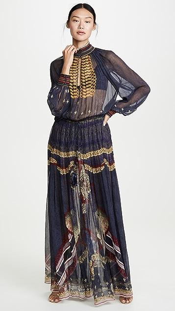 Camilla 有领长袖连衣裙