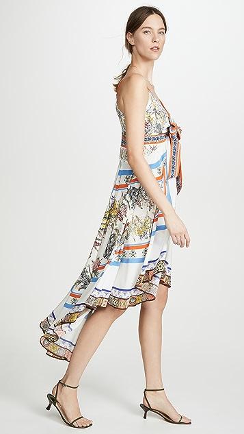 Camilla 绑带细节高低不对称连衣裙